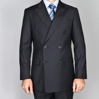Carlo Lusso Men's Black Double Breasted Suit