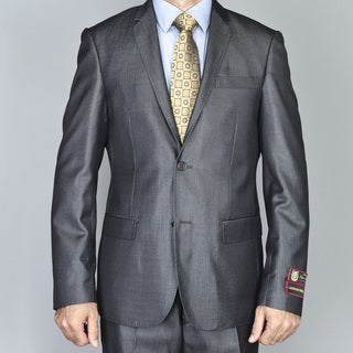Men's Shiny Dark Grey Single Breasted Slim-Fit Suit