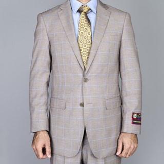 Men's Light Taupe Windowpane 2-Button Suit