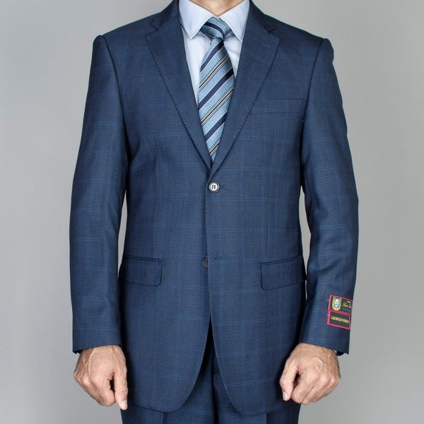 Men's Cobalt Blue Windowpane 2-button Suit