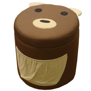 Kinfine Kid's Bear Design Round Storage Ottoman