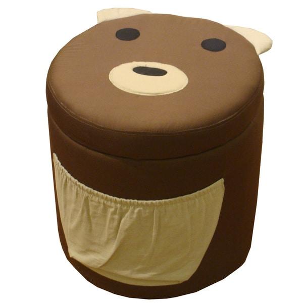 Kinfine Kid's Bear Design Round Storage Ottoman