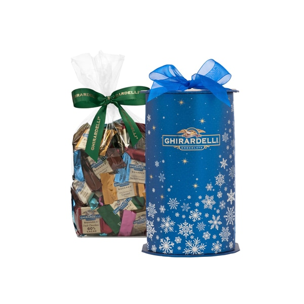 Ghirardelli Chocolate Blue Snowflake Cylinder Gift Box