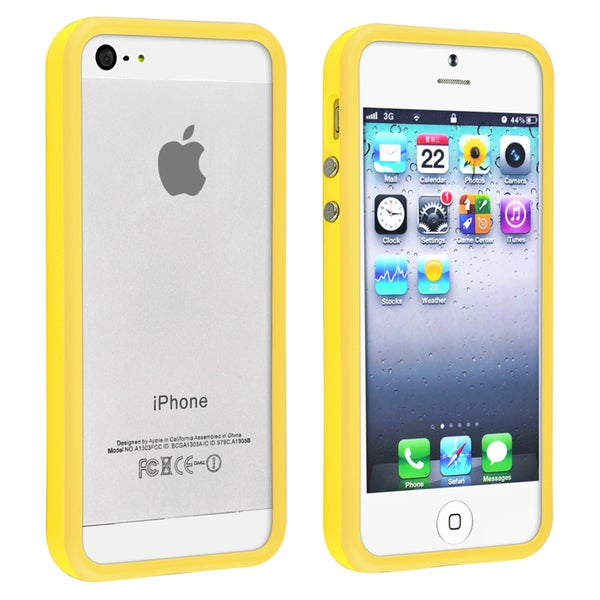INSTEN Yellow TPU Rubber Bumper Phone Case Cover for Apple iPhone 5