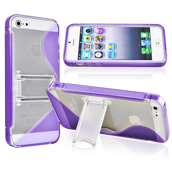 INSTEN Purple S Shape TPU Phone Case Cover for Apple iPhone 5