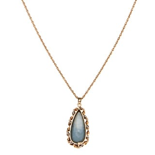 14k Yellow Gold Opal and FW Pearl Estate Necklace (1 mm)
