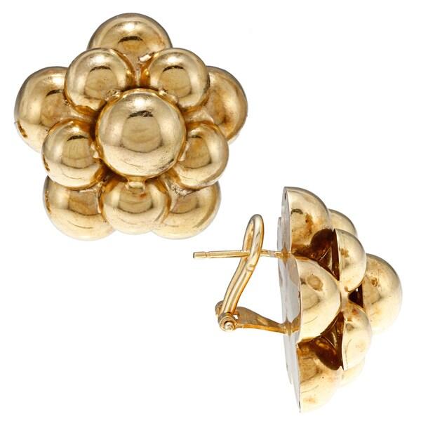 18k Yellow Gold Circa 1980's Estate Earrings