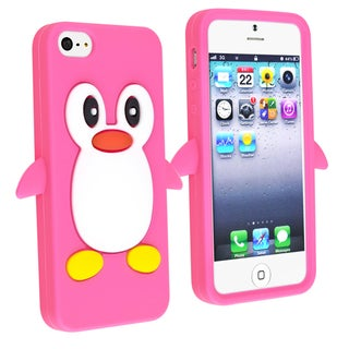 BasAcc Hot Pink Penguin Silicone Skin Case for Apple� iPhone 5