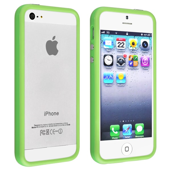 INSTEN Green TPU Rubber Bumper Phone Case Cover for Apple iPhone 5/ 5S