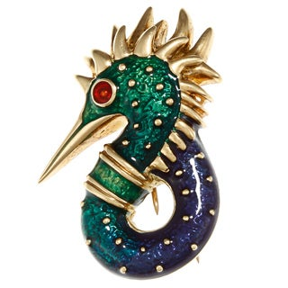 Pre-owned Hidalgo 18k Yellow Gold Enameled Sea Horse Estate Brooch