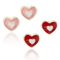 Little Miss Twin Stars 14k Gold-plated Children's Enamel Heart Stud Earrings