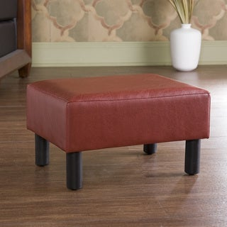 Red Faux Leather Foot Stool Ottoman