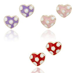 Little Miss Twin Stars 14k Gold-plated Children's Enamel Polka Dot Heart Stud Earrings