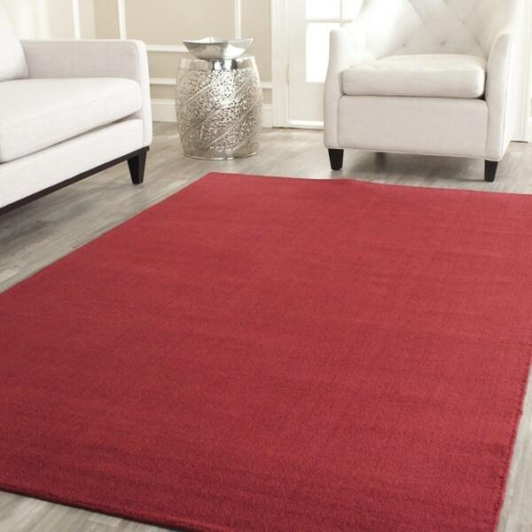 Handmade Safavieh 'Himalayan Solo' Red Wool Rug