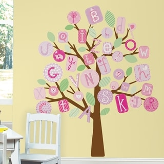 ABC Pink Tree Peel & Stick Giant Wall Decals
