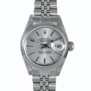 Pre-owned Rolex Women's Stainless Steel Datejust Watch with Silver Dial