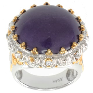 Michael Valitutti Two-tone Purple Jade and White Sapphire Ring