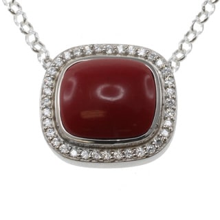 Michael Valitutti Two-tone Coral and Cubic Zirconia Pendant