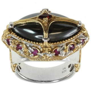 Michael Valitutti Two-tone Hematite, Garnet and Ruby Ring