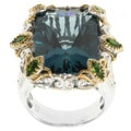 Michael Valitutti Two-tone London Blue Topaz and Chrome Diopside Ring