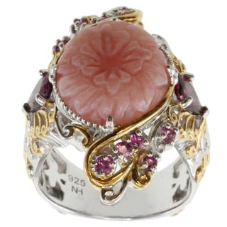 Michael Valitutti Two-tone Pink Opal, Rhodolite and Pink Sapphire Ring
