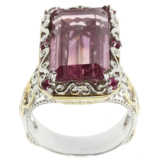 Michael Valitutti Two-tone Kunzite Quartz and Pink Sapphire Ring