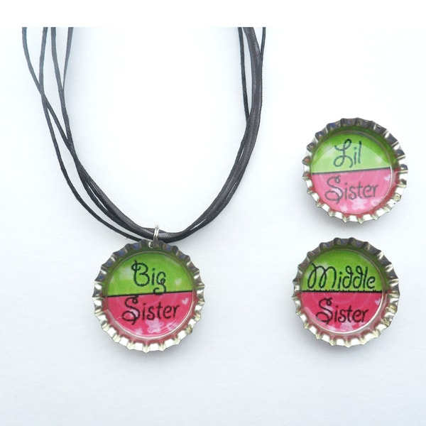Sister Bottle Cap Necklace
