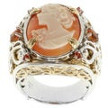 Michael Valitutti Two-tone Cameo, Madeira Citrine and Orange Sapphire Ring