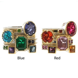 Michael Valitutti Two-tone Multi Gemstone Stackable Ring Set