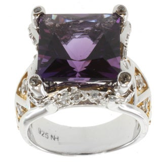 Michael Valitutti Two-tone Square Amethyst and White Sapphire Ring