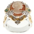 Michael Valitutti Two-tone Cameo, Emerald and White Sapphire Ring