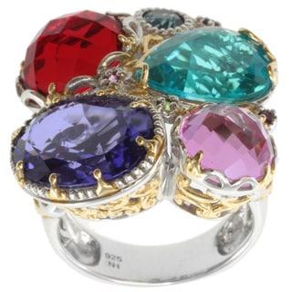 Michael Valitutti Two-tone Quartz Doublet and London Blue Topaz Ring