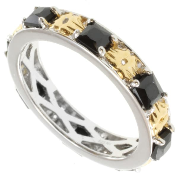 Michael Valitutti Two-tone Black Spinel Ring