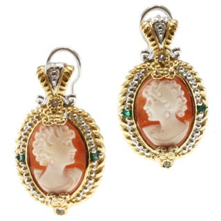 Michael Valitutti Two-tone Cameo and Emerald Earrings