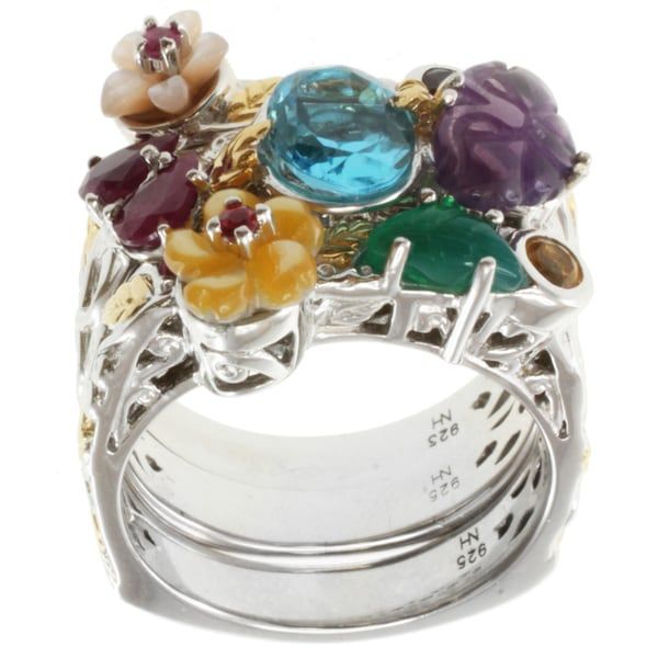 Michael Valitutti Two-tone Set of Three Rings with Blue Topaz and Amethyst