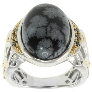 Michael Valitutti Two-tone Snow-Flake Obsidian and Black Diamond Ring