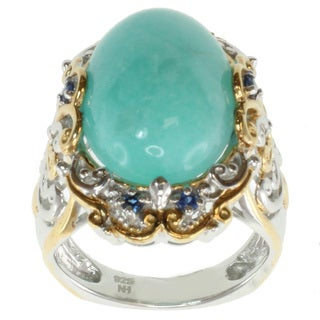 Michael Valitutti Two-tone Amazonite and Blue Sapphire Ring