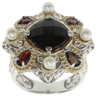 Michael Valitutti Two-tone Black Spinel, Pearl and Garnet Ring