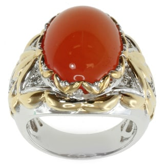 Michael Valitutti Two-tone Orange Chalcedony and White Sapphire Ring