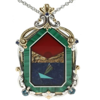 Michael Valitutti Two-tone Malachite and Carnelian Mosaic Pendant