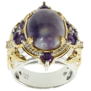 Michael Valitutti Two-tone Purple Opal, Amethyst and White Sapphire Ring