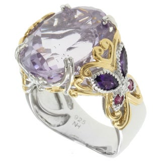 Michael Valitutti Two-tone Amethyst and Pink Sapphire Ring