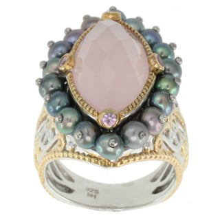 Michael Valitutti Two-tone Pink Agate, Pearl and Pink Sapphire Ring