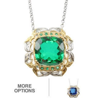 Michael Valitutti Two-tone Quartz Doublet and Blue Sapphire or Emerald Pendant
