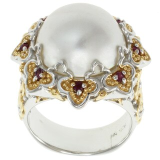 Michael Valitutti Two-tone White Mabe Pearl and Ruby Ring