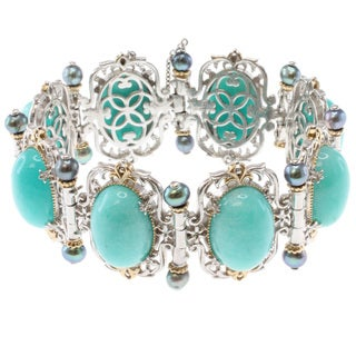 Michael Valitutti Two-tone Amazonite, Pearl and Blue Sapphire Bracelet