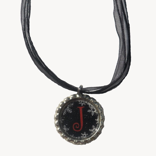 Wintery Mix Monogram Bottle Cap Necklace
