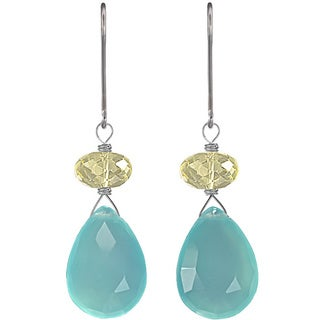 Ashanti Sterling Silver Blue Chalcedony Earrings (Sri Lanka)