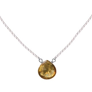 Ashanti Sterling Silver Genuine Citrine Briolette Necklace (Sri Lanka)