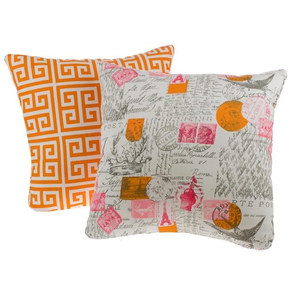 Greek Key Orange Reversible Square Decorative Pillows (Set of 2)